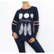 T-shirt femme marine manches longues imprimé plumes-My Dressing