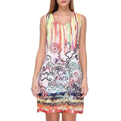 Sweet Miss robe droite très colorée en viscose satin léger