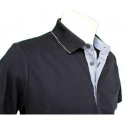 Stil-Park polo manches courtes marine col chemise poisson-MyDressing