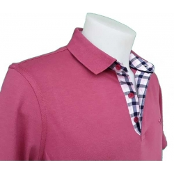 Polo Stil Park manches courtes framboise col carreaux sans poche-MyDressing