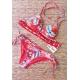 Maillot de bain femme Triangle imprimé flamant rose et crochet