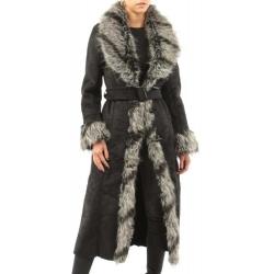 Manteau femme en peau et fausse fourrure