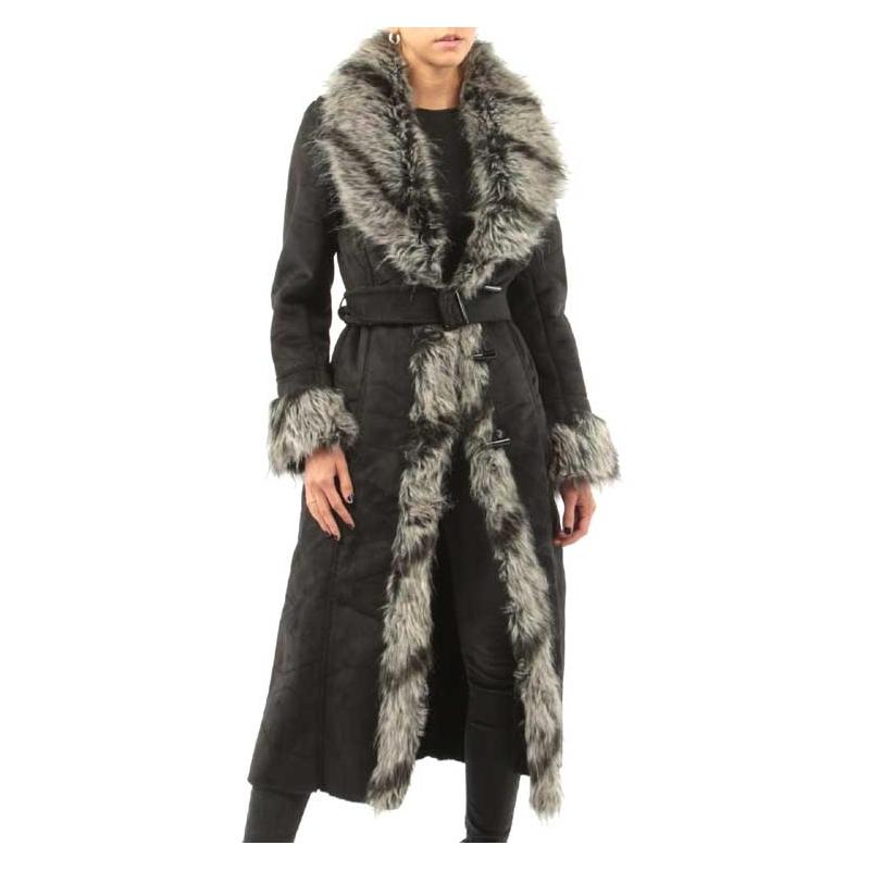 Manteau femme col fourrure