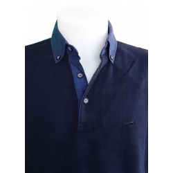 Polo Stil Park noir manche longue col chemise en soie