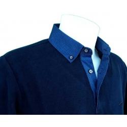 Polo Stil Park marine manche longue col chemise