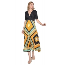 Sweet Miss robe longue à motifs année 70
