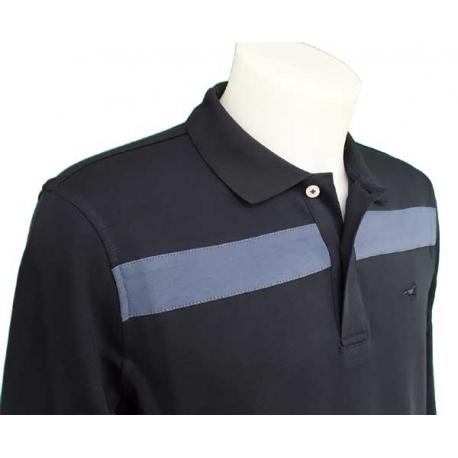 Polo Stil Park manche longue marine rayure bleue-My Dressing