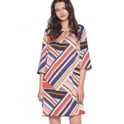 Sweet Robe Tunique multicolore droite manches 3/4