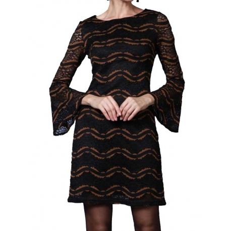 Sweet Miss Robe Tunique dentelle noire à manches amples-My Dressing