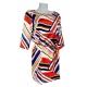 Sweet Robe Tunique multicolore droite manches 3/4 avec ceinture