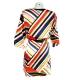 Sweet Robe Tunique multicolore droite manches 3/4 vue de dos avec ceinture