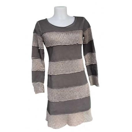 Robe courte mélange maille molleton avec manches