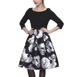 Sweet Miss robe style vintage noire à fleurs blanches