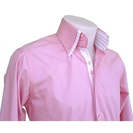 Chemise Italienne homme cintrée rose