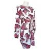 Robe blanche fluide à motif plumes rose