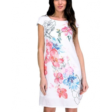 Sweet Miss Robe blanche courte motifs fleurs