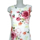 Robe blanche Lin coton motif fleurs