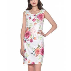 Robe été blanche Lin coton motif fleurs