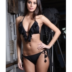 Maillot 2 pieces femme triangle noir à franges