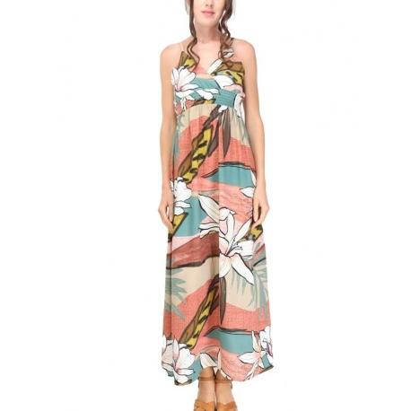 Sweet Miss Robe longue à bretelles multicolore