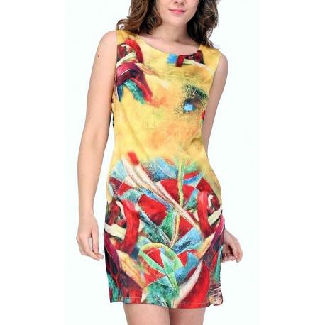 Robe droite Sweet Miss jaune et colorée en satin-My Dressing
