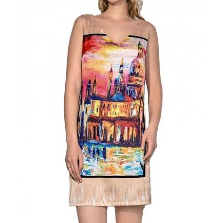 Robe ete droite Sweet Miss colorée en viscose satin Venise