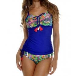 Soldes Maillot Tankini bleu imprimé tropical