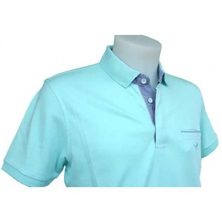 Polo Stil Park manches courtes col chemise vert