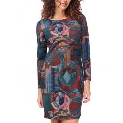 Sweet Miss Robe droite imprimé bleu avec manches et motifs