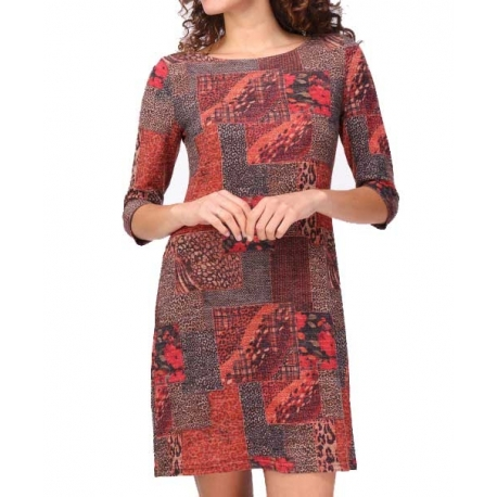 Sweet Miss Robe hiver à manches et motifs rouge
