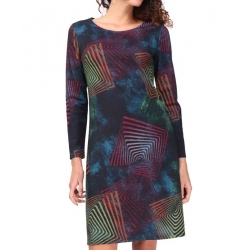 Robe Sweet Miss droite bleu motifs psychedeliques