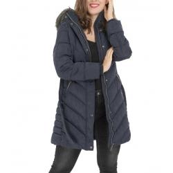 Doudoune longue femme à capuche - fourrure ceinturée