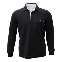 Pull polo noir Stil-Park col chemise rayé manches longues et poche