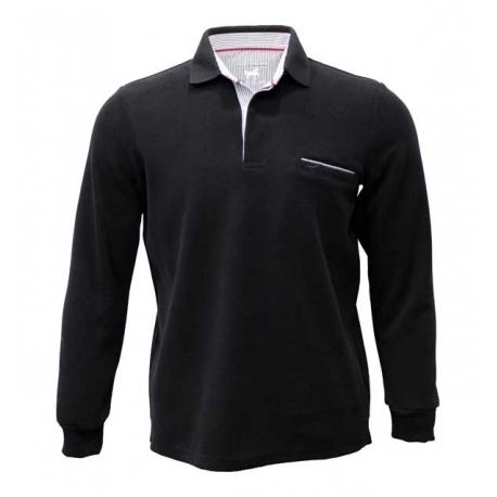 Polo Stil Park noir avec poche coupe droite
