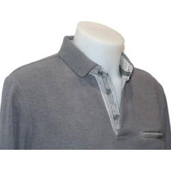 Polo homme Styl Park gris clair avec poche manches longues