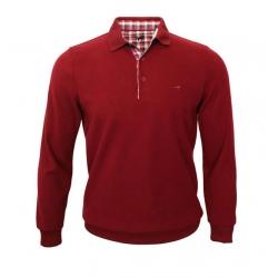 Polo homme Stil Park rouge bordeaux manches longues col carreaux