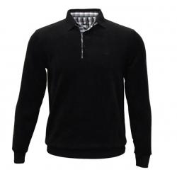 Stil Park polo noir manches longues col chemise à carreaux