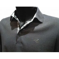 Stil Park Polo homme gris foncé col chemise à carreaux manches longues