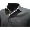 Polo Stil Park antracite manches longues col chemise à carreaux