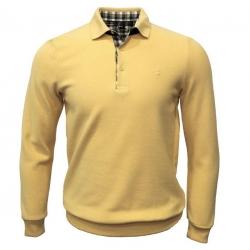 polo-stil-park-jaune-manches-longues-col-chemise-a-carreaux