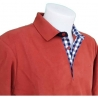 Polo homme Stil Park manches longues rouille col marine-My Dressing