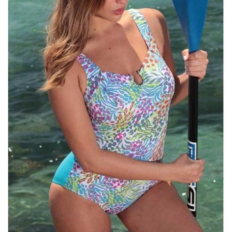 Ocean Wear Maillot de bain une pièce turquoise fond blanc