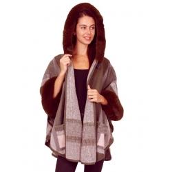 Manteau femme fourrure à capuche taupe