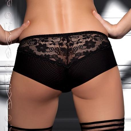 culotte Shorty noir dentelle effet toile d'araignée
