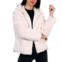 Manteau fourrure femme blanc à capuche