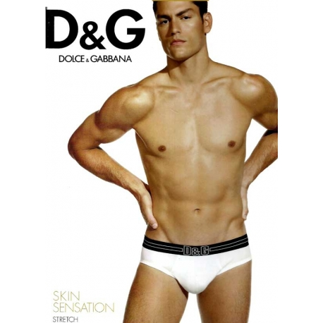 Slip homme coton noir à large ceinure Dolce & Gabbana