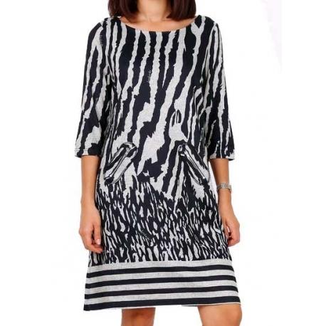 Robe Lulu H courte motif zèbre My-Dressing
