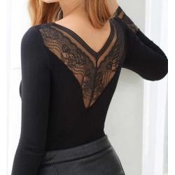 T-shirt bambou femme noir col V