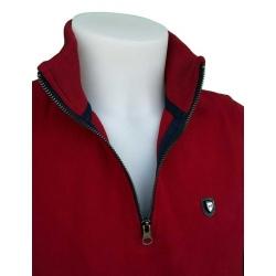 Stil Park Polo manche longue rouge col zip