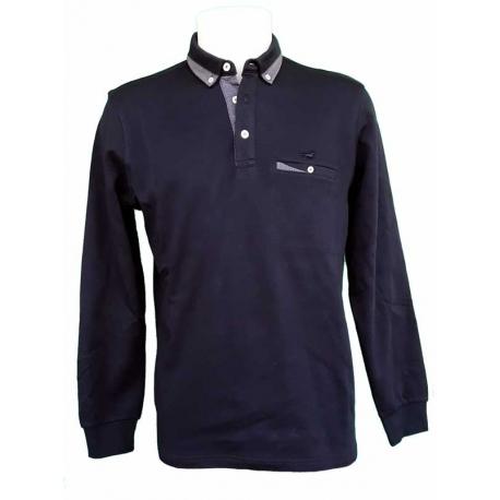 Polo Stil Park bleu marine col chemise manches longues